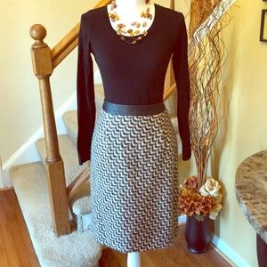 Tweed Skirt with Faux Leather Waistband